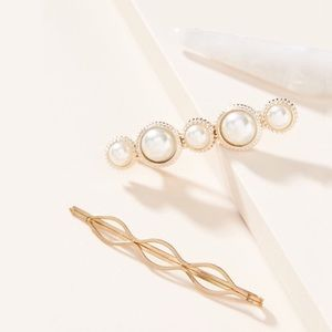 Anthropologie Pearl Barrette Set - Ivory